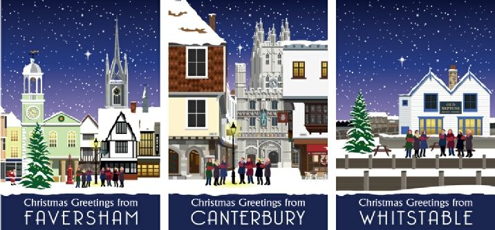 Faversham, Canterbury and Whitstable Christmas cards available from www.thecardshed.com