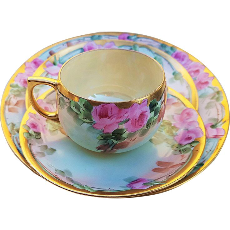 "Antique Bavarian Early 1900's Hand Painted Porcelain ""Pink Roses"", Floral Cup, Saucer, & 2 Plates Set by Artist, ""H. Reynolds"" - Early 20th Century Teacup Tea Cup Coffee Cup - Vintage"