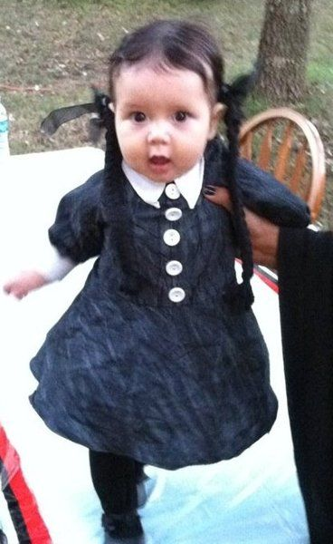 the geekiest baby halloween costumes from all over the internet wednesday addams dressed as a psychopath because they look like all of us - Black Dynamite Halloween Costume