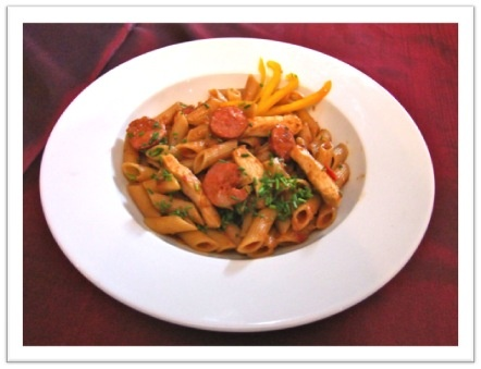 Sautèd chicken strips and spicy chorizo sausage with penne pasta in a light Napolitana Sauce at R59.95 until 1 Dec 2012