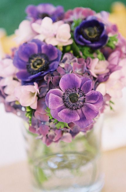 We know we have lots of purple lovers out there! This one's for y'all! Photography by Leah McCormick, Floral Design by The Perfect Poppy: Flowers Bouquets, Shades Of Purple, Floral Design, Purple Flowers, Wedding, Centerpieces, Mason Jars, Purple Bouquets, Anemones