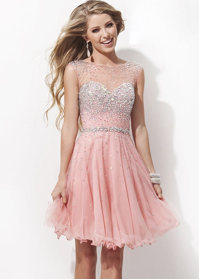 2014 Crystals Beads Coral Cut Out Back Homecoming Short Dress [TB-TS11477 Coral] - $174.00 : tidepromdresses.com