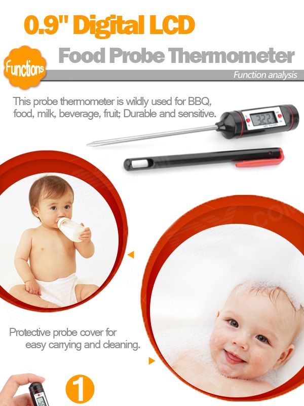 """0.9"""" Digital LCD Food Probe Thermometer (-50~300'C/1*LR44) - Free Shipping - DealExtreme"""