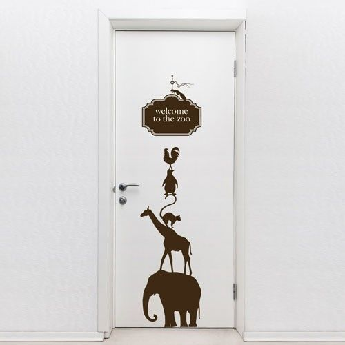 Apply This Vinyl Sticker On Your Door! This Door Vinyl Sticker Features  Animals Layout And A U201cWelcome To The Zoou201d Message That Will Add A  Decorative And ...