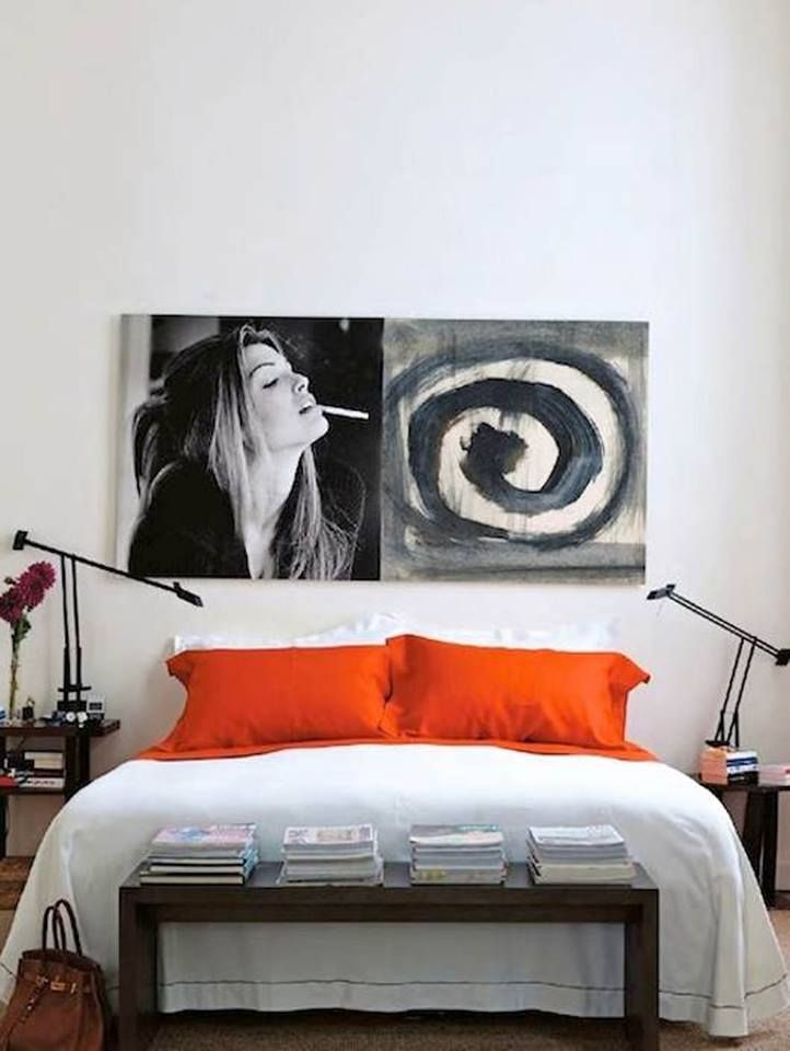 contemporary, minimalist bedroom // 2 large prints above bed // white bedroom // low table at foot of bed // master bedroom