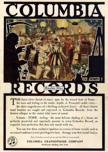 Columbia Records advertisement 1920's