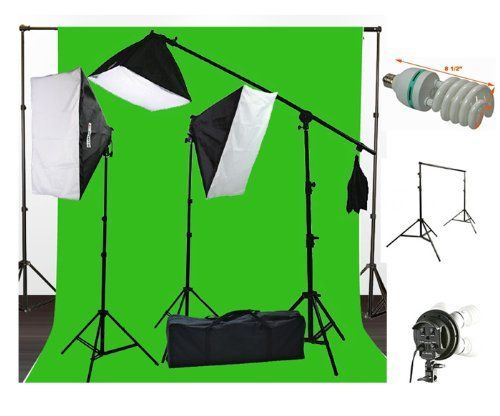 ePhoto 10 x 20 Muslin Chromakey Green Screen Background Support Stand Kit 2700 Watt Hair Light Boom Stand Studio Photo Video Lighting Kit H604SB-1020G.