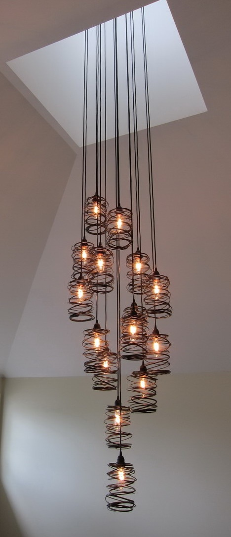 Cascading Spiral Nest - Cluster 15 #lighting #pendants #industrialdesign #lightingdesign #spiralnest #customlighting