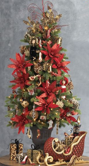 Table top tree decorated with items from the 2013 RAZ Christmas Catwalk collection. See more of this collection at http://www.trendytree.com #trendytree #raz