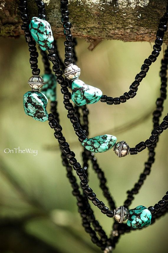 Turquoise silver and black beads necklace by LanguWorld on Etsy
