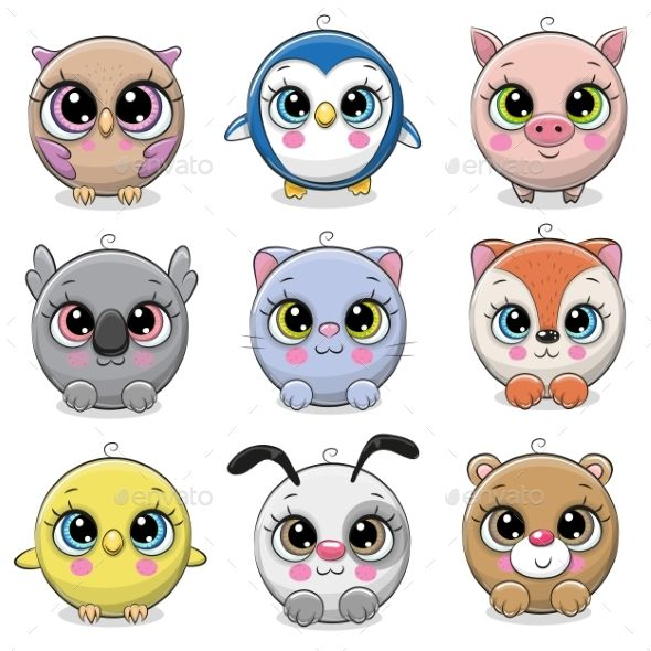 Set Of Animals On A White Background Cute Eyes Drawing Cute Drawings Cute Cartoon Animals