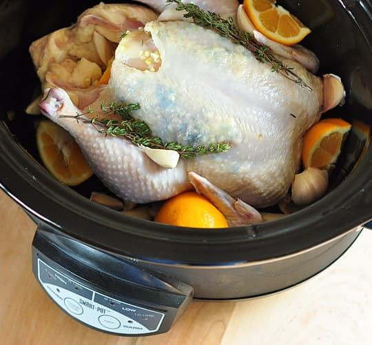 "After last week's slow cooker roundup, we thought it was high time to revisit this lemon garlic chicken, one of our all-time most popular recipes. This is a classic ""dump it and forget it"" dish: just rub the chicken with seasoning, add some lemon juice and chicken broth, and set the timer. The result is the most tender chicken you've ever tasted with just the right amount of lemon-garlic flavor in every bite."