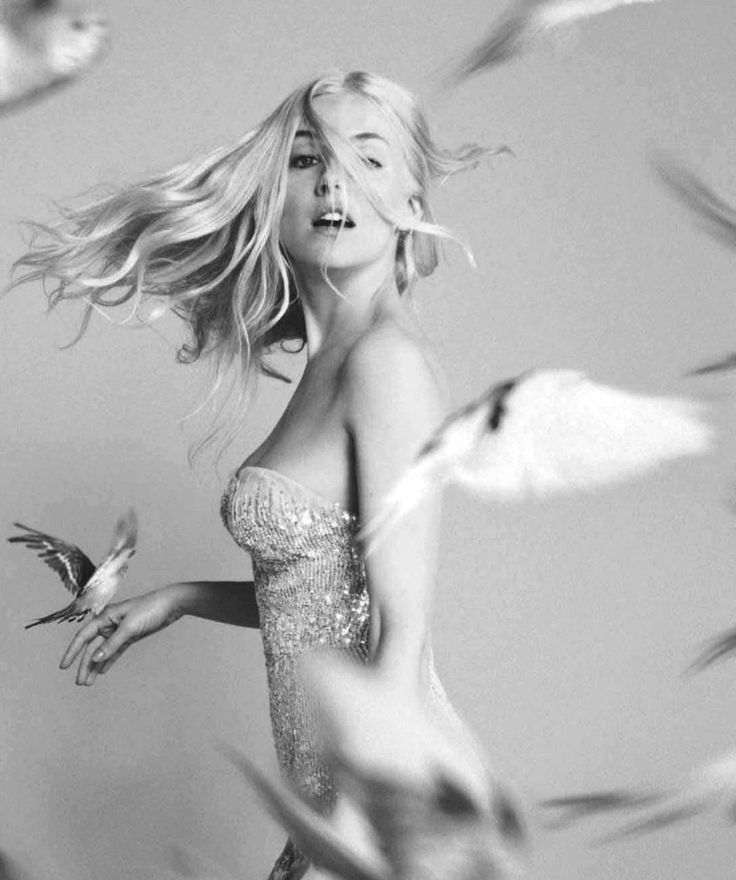 Whimsical Beauty - b&w fashion photography // Sienna Miller by Ryan McGinley for Vogue UK