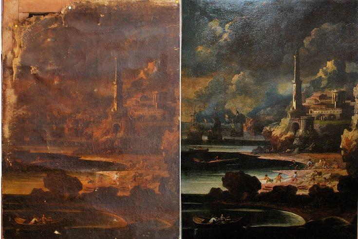 Restauro dipinto su tela prima e dopo l'intervento