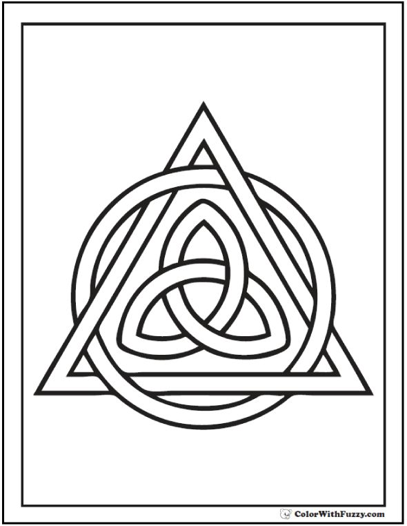 ColorWithFuzzy.com: Celtic Triangle Coloring Page for the feast of St. Patrick. Lots of Celtic knots to color. Fun for adults and kids, too.