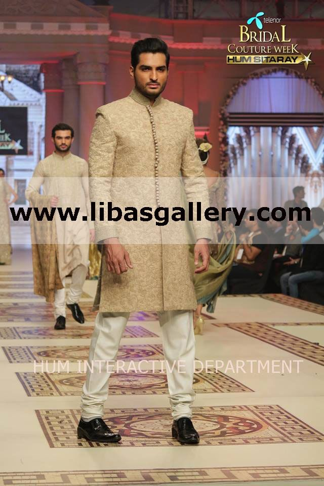 Mehdi Bridegroom Collection 2015 by Designer Mohammad Mehdi in Texas, USA Pakistani Sherwani Dresses Online, Designer Mehdi Sherwani Collection 2015 by Designer Mohammad Mehdi at Telenor Bridal Couture Week 2014 Lahore – Day 3 Shop Online Wedding Sherwani Suits, Mens Designer Sherwani, Tailor Made Sherwani Suits For Men. Latest Pakistani Sherwanis For Men And Indian Sherwani For Groom At Affordable Prices in Texas, USA. Worldwide Delivery. www.libasgallery.com