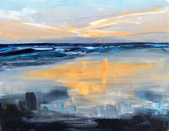 Original Sunset Seascape Painting Abstract Ocean Painting Etsy