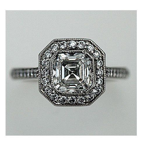 Estate Replica Art Deco Platinum Asscher Cut Diamond Engagement Ring 1.58 Carats Circa 2000