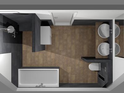 Bekijk de foto van Anton met als titel (De Eerste Kamer) Moderne badkamer met ronde en rechthoekige vormen. Deze moderne badkamer is bijzonder sfeervol door de warme houtlook van het wastafelonderblad en van de vloertegels. De ronde vormen van de opzetkommen, het toilet en de inbouwkranen dragen bij aan een prettige sfeer. Het bad en het badmeubel hebben een rechthoekige vormgeving. Ook bij de inloopdouche is voor een strakke, rechthoekige indeling gekozen. De doucheruimte is voorzien van…