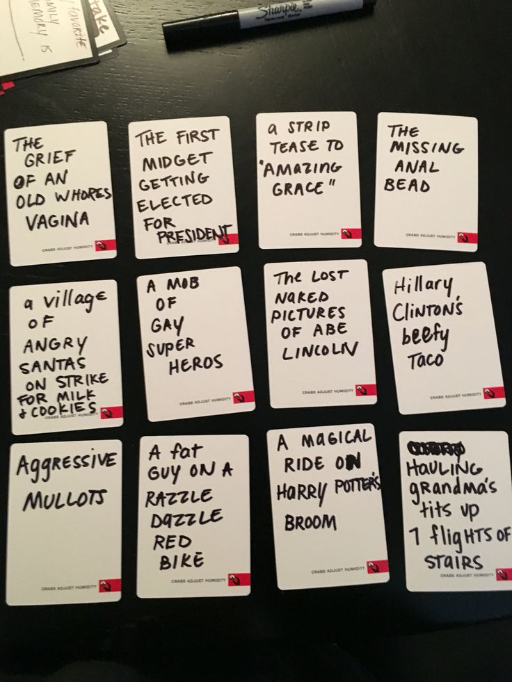Funny ideas for cards against humanity blank cards
