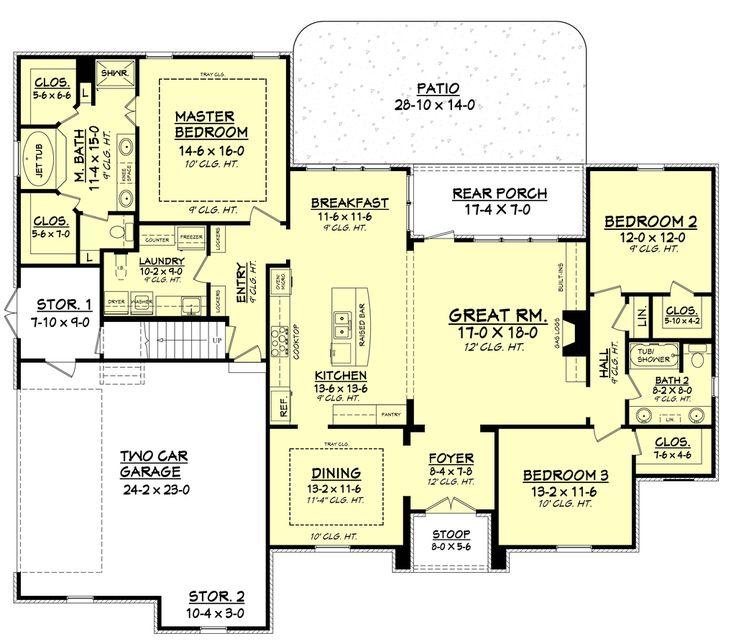 European Style House Plan   3 Beds 2.00 Baths 2091 Sq/Ft Plan #430 94