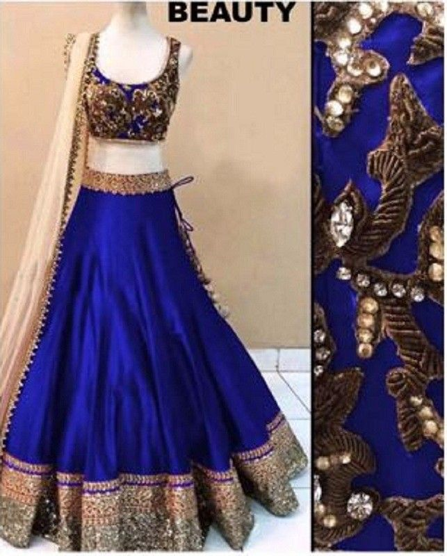 Bhagalpuri Silk Zari Work Royal Blue Unstitched Lehenga - B1