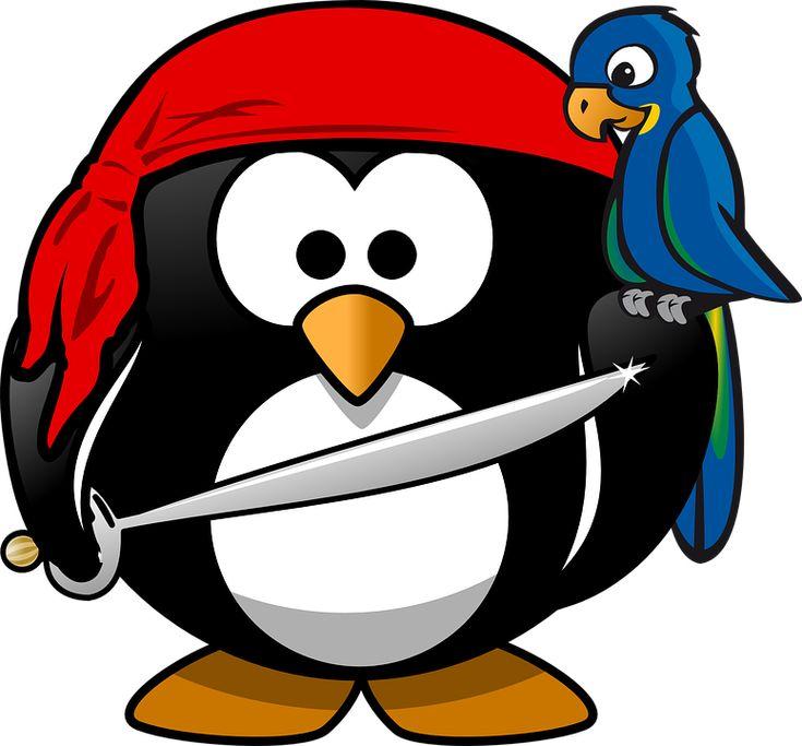 Pingüino, Pirata, Tux, Animales, Bandana, Ave