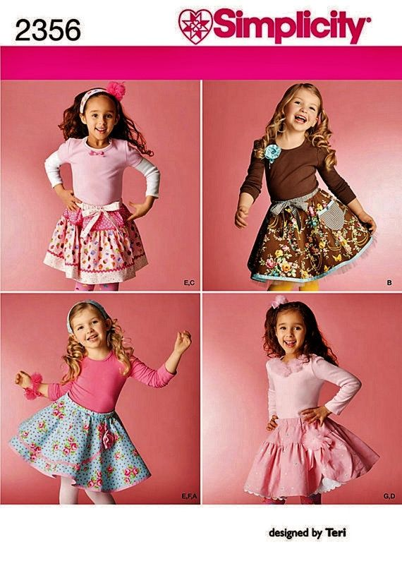 Elastic waist full, twirly girl skirts for summer or winter, cute in cotton or corduroy, several looks from this one pattern which includes half slip,