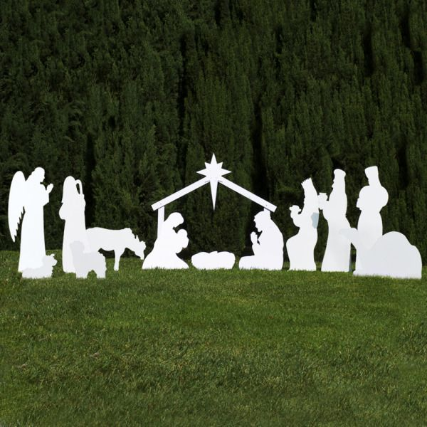 The 13-piece white outdoor nativity set with Mary, Joseph, cradle, stable, three wisemen, shepherd, two sheep, camel, donkey, and angel. Made in USA. Free shipping.