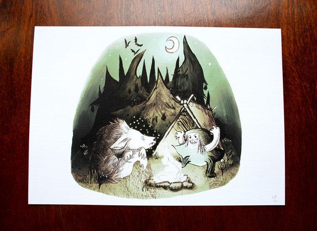 Little Red Riding Hood and Wolf Scary Camping Mint Pastel Green A4 Print £8.00