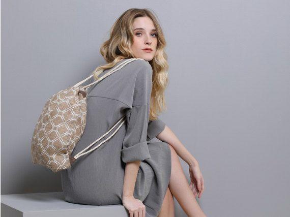 Boho Drawstring Backpack for women Jute Eco friendly printed burlap Women's bag