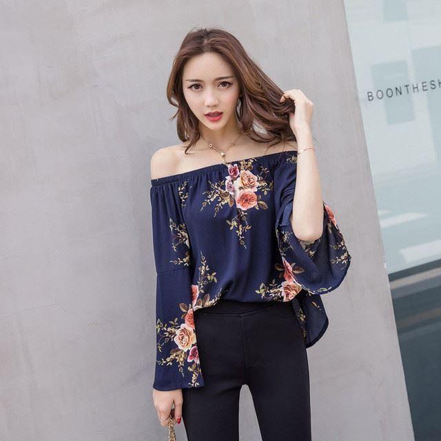 Women Summer Off Shoulder Fashion Printed Floral Chiffon Fabric Blouse