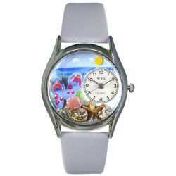 Cheap Whimsical Watches S1210013 Flip-flops bay Blue Leather And Silvertone Watch online - Beach themed Whimsical Watch features miniature flip-flop sandals sunglasses seashells and starfish arranged on a sandy beach under a bright blue sunny summer sky. Perfect for the beach lover its a colorful reminder of summer beach...