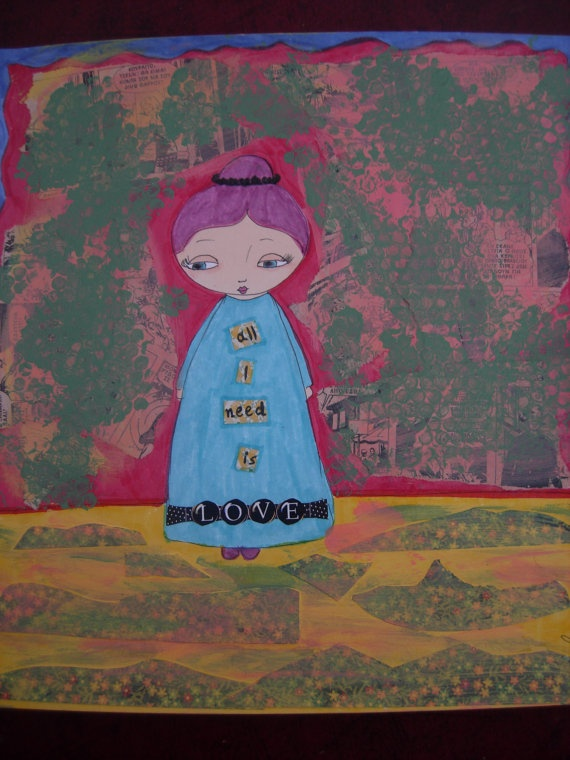 All i Need is Love  ART PRINT of my Original mixed by eltsamp, $20.00