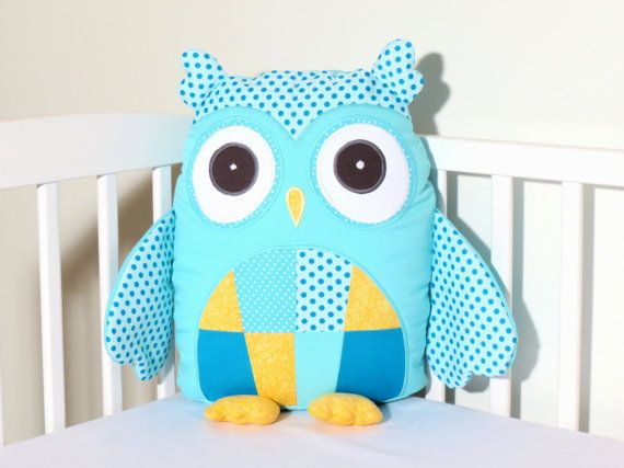 Stuffed Owl Modern Custom Owl Pillow Case and by Customquiltsbyeva