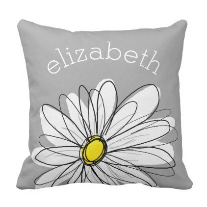 Trendy Daisy with gray and yellow Throw Pillow - patterns pattern special unique design gift idea diy