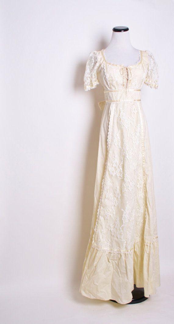 Long Buttercream 1970s Wedding Dress / Edwardian / by aiseirigh, $155.00