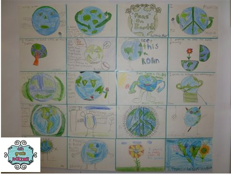 Early Earth Day Fun!!!  Mini poster Earth day quilt.