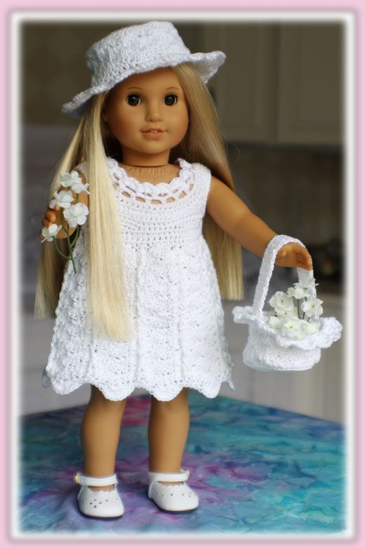 crochet Easter outfit for American Girl dolls