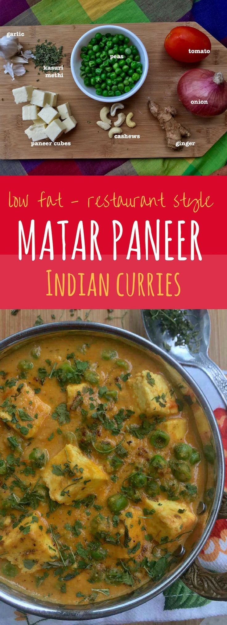 Restaurant style Paneer Recipes - Matar Paneer - Indian style peas and cottage cheese curry made healthier