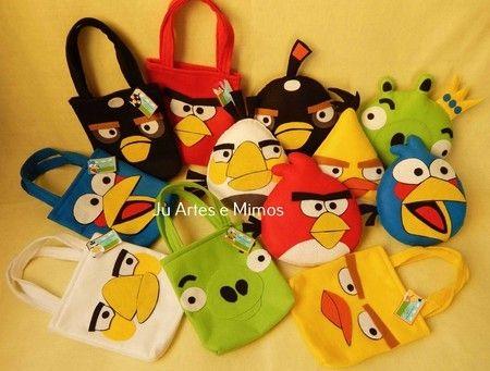 Kit festa Angry birds 3 - bonecos + 40 lembrancinhas + tags