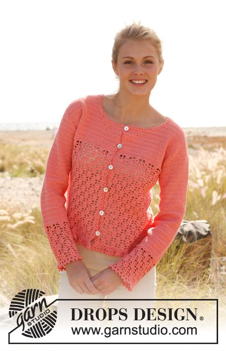 "Peach blossom - Crochet DROPS jacket with lace pattern and flounce at the bottom in ""Safran"". Size S - XXXL - Free pattern by DROPS Design"