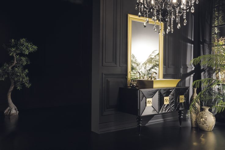 Topex Armadi Art Black Glass & Gold Fiaba Bath Vanity From Our Avantgarde Collection!