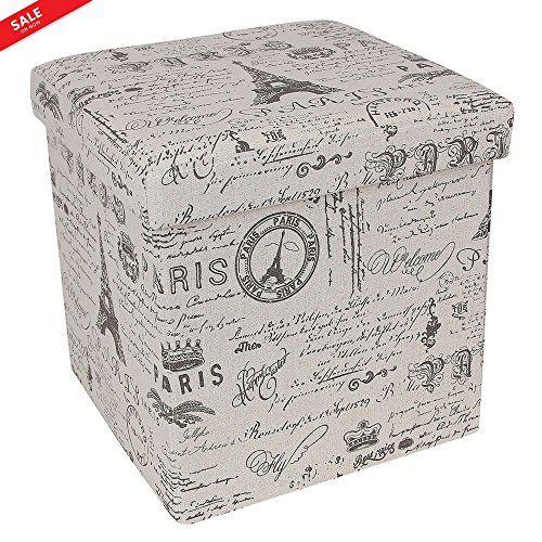 Admirable Upholstered Light Beige White Ottoman Cube Paris Eiffel Bralicious Painted Fabric Chair Ideas Braliciousco