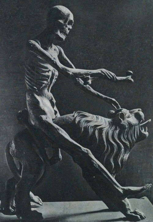 Death baits the beast in this sculpture by Rodolf Stingel ,Palazzo Grassi