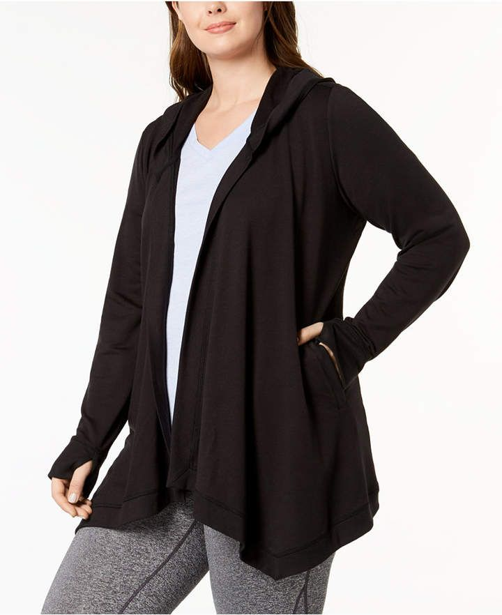 Ideology Plus Size Hooded Wrap Jacket, Created for Macy's