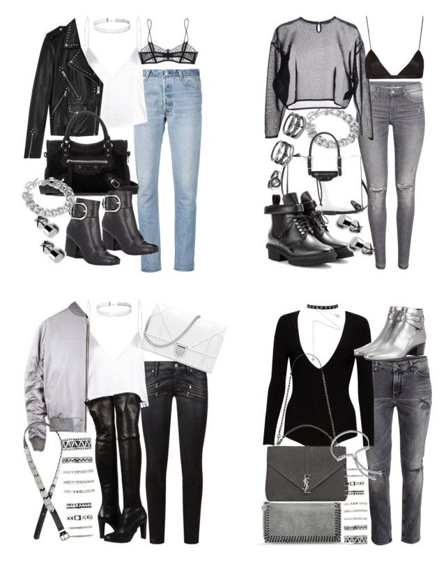 """concert looks"" by florencia95 ❤ liked on Polyvore featuring Alice + Olivia, Yves Saint Laurent, Forever 21, Estella Bartlett, RE/DONE, STELLA McCARTNEY, Monica Vinader, AllSaints, Balenciaga and Alexander Wang"