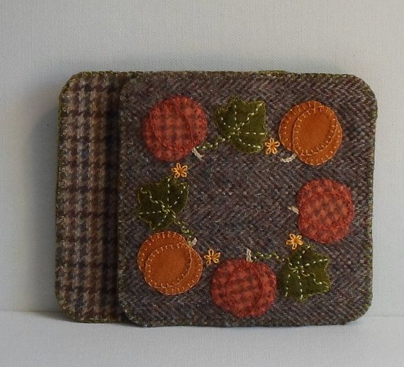 Handmade coasters autumn halloween pumpkins felted wool for Penny coasters