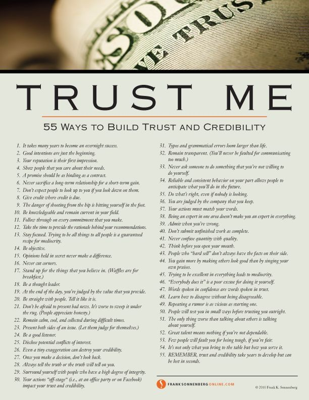 55 Ways To Build Trust and Credibility