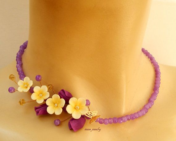 #Violet jewelry  Flower #necklace  Romantic necklace by insoujewelry